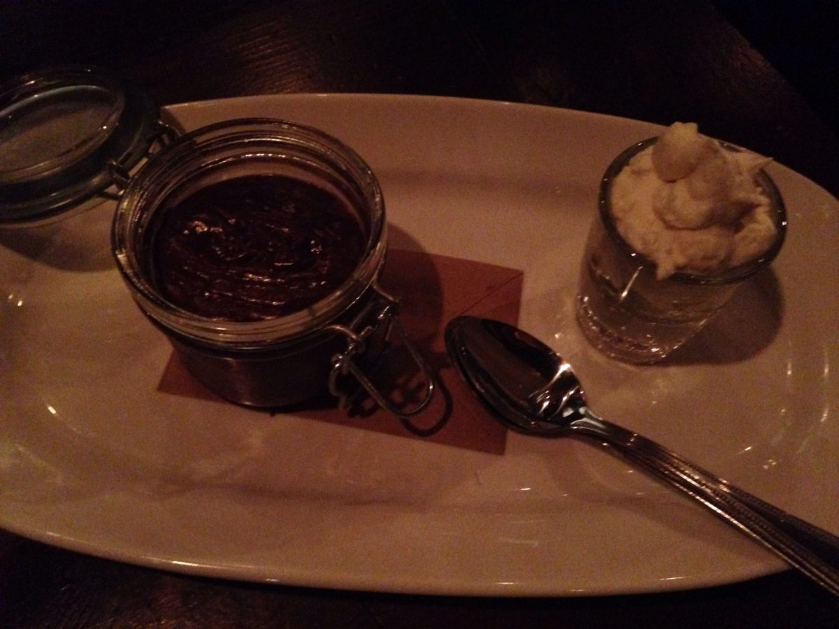 Henry's Majestic Chocolate Stout Pudding with bourbon whipped cream