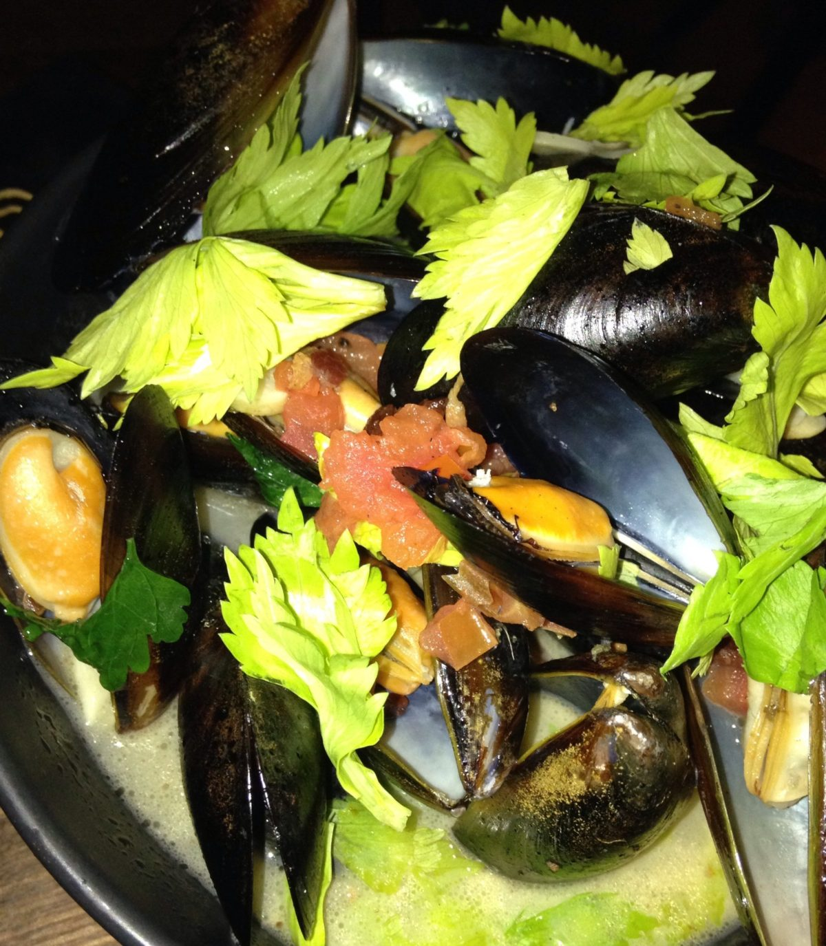 Golden Ale Mussels (jalapeño bacon stock, crispy pancetta, golden ale beer and petit herbs)