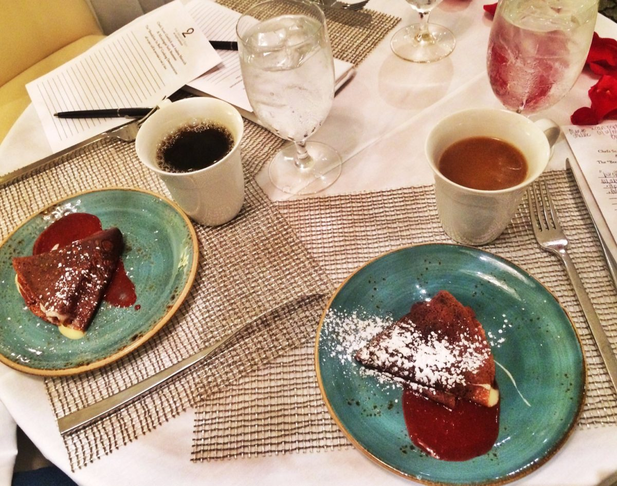 Red Velvet Crépes with Cream Cheese Mousse Filling and Raspberry Coulis