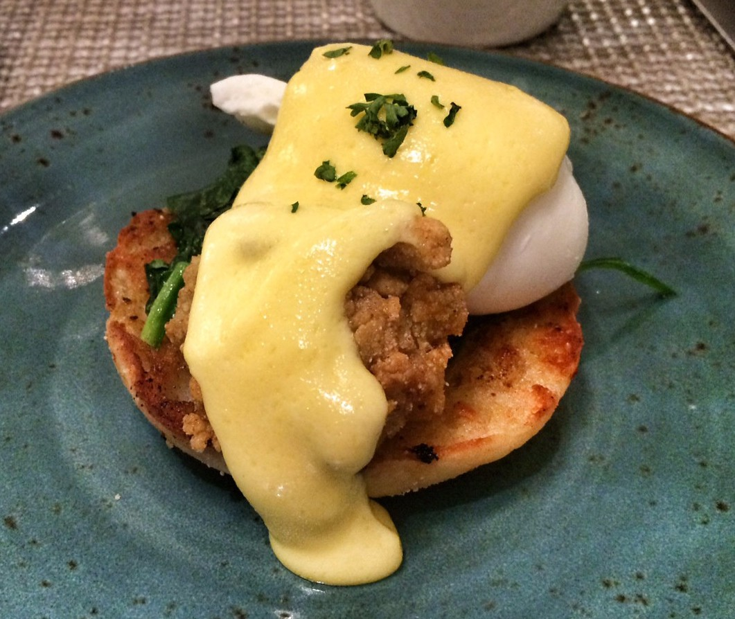 Oysters Eggs Benedict with Tasso Ham and Wholegrain Mustard Hollandaise Sauce