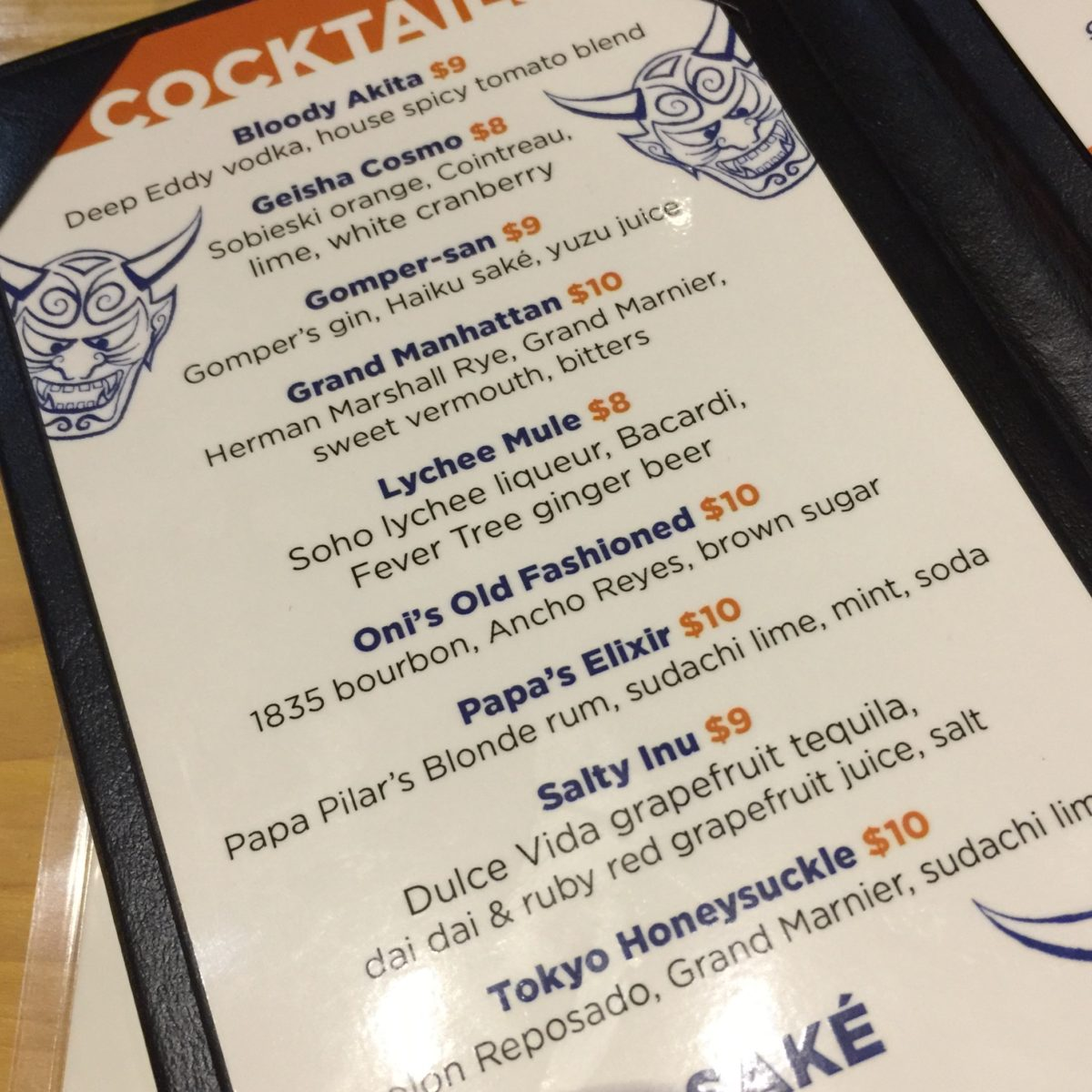 Oni Cocktail Menu